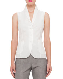 Cotton-Voile Sleeveless Gilet Blouse, Anemone