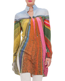 Tulip-Field Print Silk Tunic Blouse, Multi