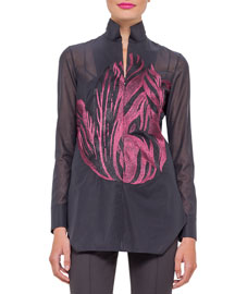 Embroidered Voile Tunic Blouse, Black/Red