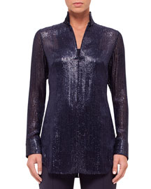 Long-Sleeve Velvet Devore Tunic, Indigo