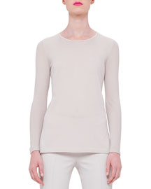 Long-Sleeve Cashmere Top, Ranunculus
