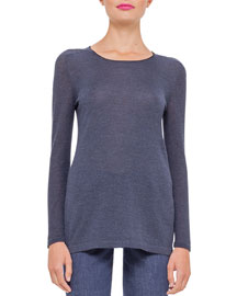 Long-Sleeve Pique-Knit Cashmere Top, Indigo
