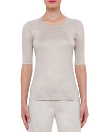 Heathered Silk Half-Sleeve Top, Ranunculus
