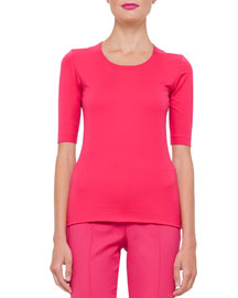Stretch-Cotton Half-Sleeve Top, Rose