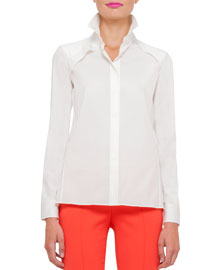 Long-Sleeve Layered Cotton Blouse, White
