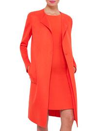 Jewel-Neck Double-Face Cashmere Coat, Zinnia