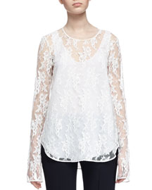 Layered Floral Lace & Crepe de Chine Blouse