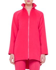Long-Sleeve Zip-Front Double-Cashmere Coat, Rose
