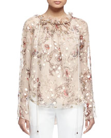 Long-Sleeve Floral-Print Blouse, Beige/Gold