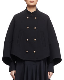 Mandarin-Collar Double-Breasted Topper Coat