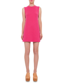 Sleeveless Double-Face Cashmere Tunic Dress, Hot Pink