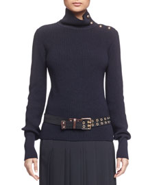 Grommet-Studded Leather Belt, Black