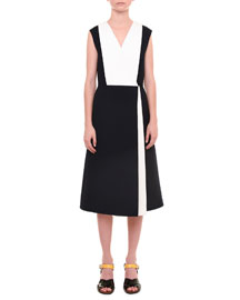 Bicolor V-Neck A-Line Dress