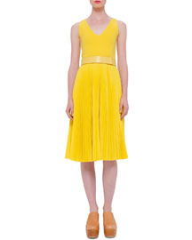 Sleeveless Pleated Wool-Crepe Dress, Tulip