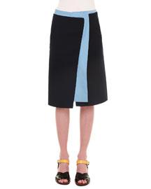 Colorblock Wool-Blend Skirt, Navy