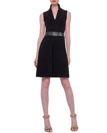 Sleeveless Mock-Neck Wool-Crepe Dress, Black