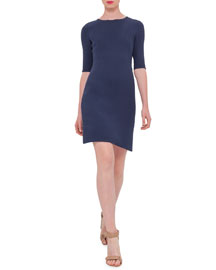 Half-Sleeve Wool-Crepe Dress, Indigo