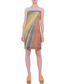 Silk-Crepe Marocain Tulip-Field Dress, Multi
