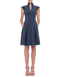 Split-Neck Silk Shantung Dress, Indigo