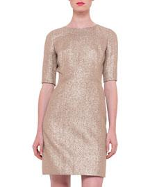 Half-Sleeve Silk Lam?? Dress, Rose Gold