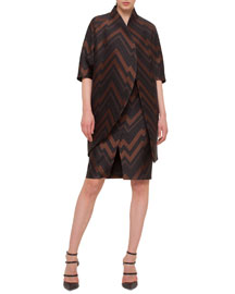 Herringbone Chevron Jacquard Topper Coat