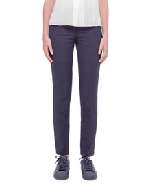 Melvin Straight-Leg Seersucker Pants, Navy
