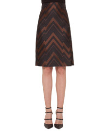 Herringbone Chevron Jacquard Pencil Skirt