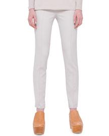 Straight-Leg Cotton Magda Pants, Beige