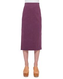 Long Cotton Pencil Skirt, Dahlia