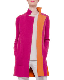 Double-Face Reversible Cashmere Coat, Rose/Zinnia