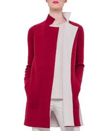 Double-Face Reversible Cashmere Coat, Dahlia/Ranunculus