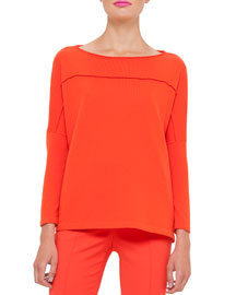 Knit Cashmere Drop-Shoulder Sweater, Zinnia