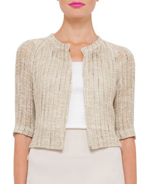 Open-Weave Raglan-Sleeve Sweater