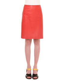 Leather A-Line Skirt, Red