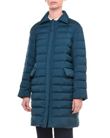 Spread-Collar Zip-Front Puffer Coat, Petrol