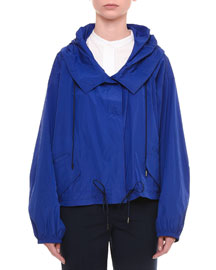 Drawstring Hooded Taffeta Jacket, Cobalt