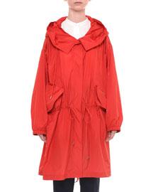Button-Front Taffeta Rain Coat, Red