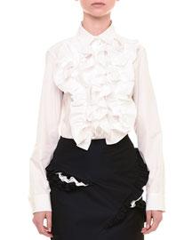 Ruffled Poplin Button-Down Shirt, White