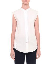 Sleeveless Mandarin-Collar Blouse, White