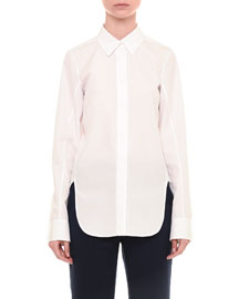 Long-Sleeve Poplin Button-Down Shirt, White