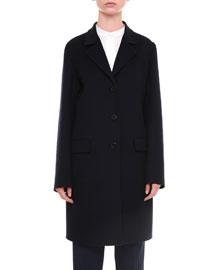 Three-Button Silk-Blend Car Coat, Navy