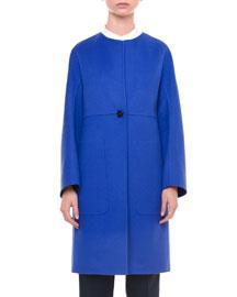 Double-Face Cashmere Coat, Cobalt