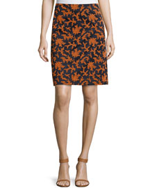 Floral-Print Gabardine A-Line Skirt