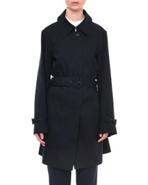 Belted One-Button Trench Coat, Navy