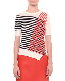Grid-Print Short-Sleeve Sweater, Navy/Coral