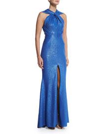Golatta Sleeveless Twisted-Halter Metallic Gown, Periwinkle