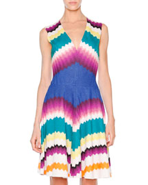 Sleeveless Fit-&-Flare Zigzag Dress, White/Multi