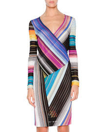 Riga Striped Wrap-Front Dress