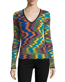 Macro Knit V-Neck Sweater, Purple/Blue/Orange
