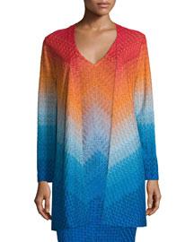 Open-Front Degrade Knit Cardigan, Blue/Orange